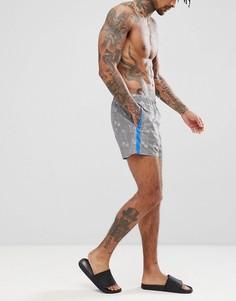 Короткие шорты для плавания с монохромной клеткой ASOS DESIGN - Серый