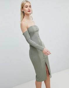 Облегающее платье-бандо миди в рубчик с открытыми плечами и кнопками ASOS DESIGN - Зеленый