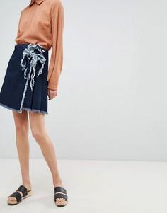 Мини-юбка с завязкой Waven Tilda - Синий