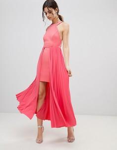Плиссированное платье мини ASOS DESIGN - Розовый