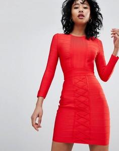 Бандажное платье с длинными рукавами Love & Other Things - Красный