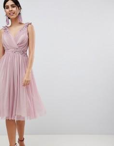 Сетчатое платье миди с запахом спереди Little Mistress - Розовый