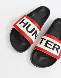 Черные шлепанцы с логотипом Hunter - Черный