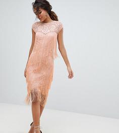 Платье миди с пайетками и бахромой ASOS DESIGN Tall - Оранжевый