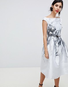 Жаккардовое платье миди Little Mistress - Серебряный