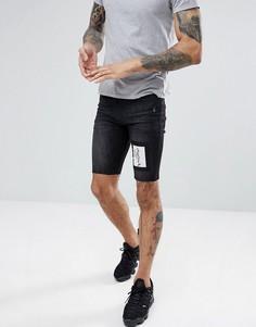 Черные джинсовые шорты скинни Religion - Черный