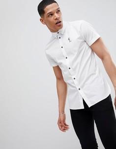 Белая рубашка скинни с короткими рукавами Religion - Белый