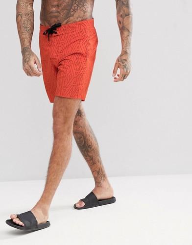 Оранжевые шорты для плавания с принтом логотипа Armani Exchange - Оранжевый