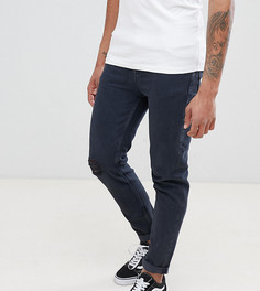 Выбеленные суженные книзу джинсы с рваной отделкой ASOS DESIGN Tall - Синий