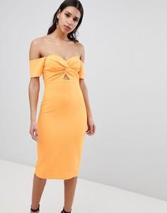 Облегающее платье с открытыми плечами и перекрутом River Island - Оранжевый