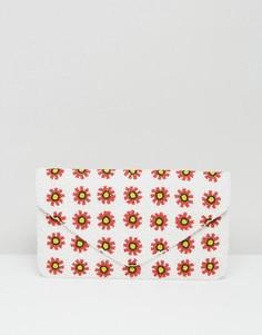 Клатч с выполненной вручную цветочной отделкой из бисера Clutch Me By Q - Белый