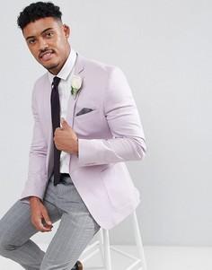 Сиреневый хлопковый блейзер супероблегающего кроя ASOS DESIGN Wedding - Фиолетовый