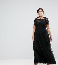 Платье макси из тюля со шнуровкой на спине Chi Chi London Plus - Черный