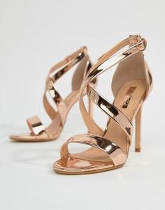 Босоножки на каблуке цвета розового золота с ремешками Office Harper - Золотой