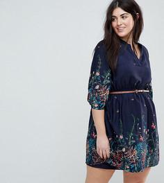 Платье с ремнем и рукавами длиной 3/4 Yumi Plus - Темно-синий