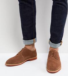 Светло-коричневые замшевые туфли дерби для широкой стопы Silver Street - Рыжий