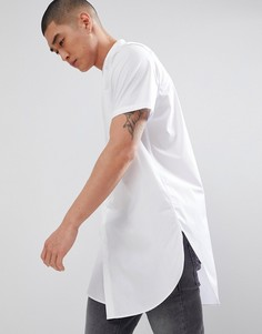 Длинная белая рубашка классического кроя с воротом на пуговице ASOS DESIGN - Белый