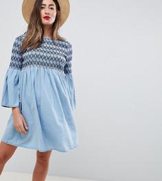 Свободное платье с вышивкой ASOS DESIGN Maternity - Синий