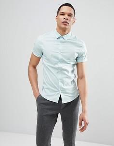 Светло-зеленая приталенная рубашка с короткими рукавами ASOS DESIGN - Зеленый