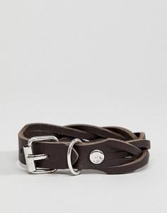 Кожаный плетеный браслет с пряжкой ASOS DESIGN - Коричневый
