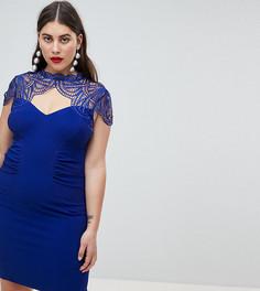 Платье-футляр с кружевной вставкой Lipsy - Синий