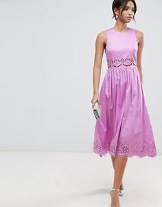 Фиолетовое платье миди с вырезной отделкой Ted Baker - Розовый