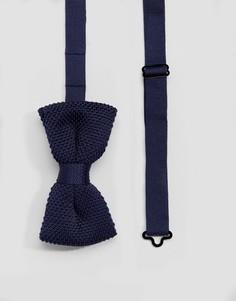 Темно-синий вязаный галстук-бабочка Devils Advocate - Темно-синий