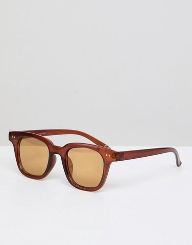 Квадратные солнцезащитные очки в коричневой оправе с золотистыми зеркальными стеклами ASOS DESIGN - Коричневый