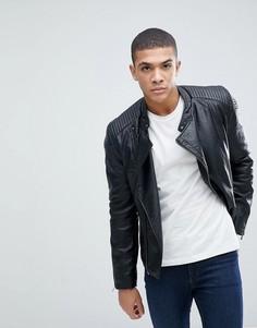 Байкерская куртка из искусственной кожи Celio - Черный