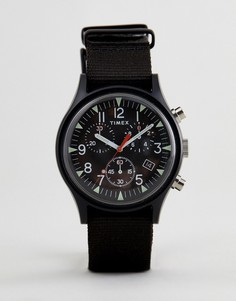 Часы с хронографом и черным парусиновым ремешком Timex TW2R67700 Expedition - Черный
