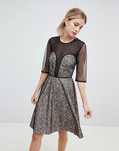 Платье для выпускного с контрастным кружевом Little Mistress - Черный