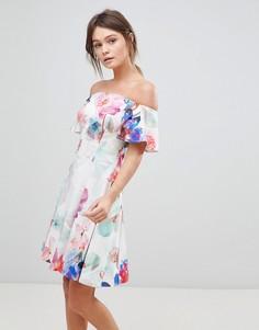 Платье со спущенными плечами и цветочным принтом Coast - Мульти