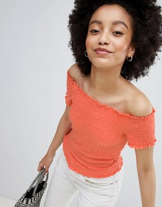 Свободный топ с открытыми плечами Only - Оранжевый