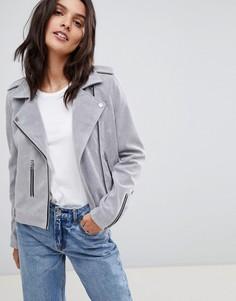Байкерская куртка из искусственной замши Urbancode - Серый
