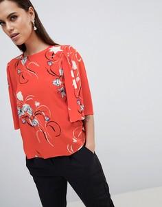 Топ с цветочным принтом и рукавами-кимоно Y.A.S - Мульти