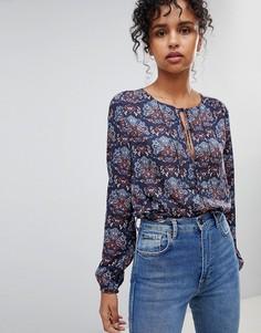 Блузка с цветочным принтом Pepe Jeans Nicole - Темно-синий