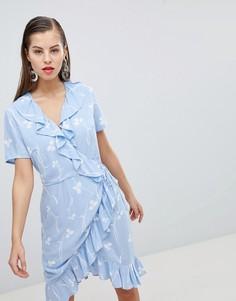 Платье с запахом и принтом Y.A.S - Синий
