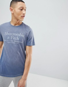 Синяя футболка с выбеленным принтом логотипа Abercrombie & Fitch - Темно-синий