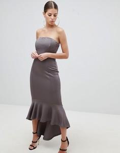 Платье-бандо макси с баской AX Paris - Серый