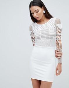 Платье мини с сетчатой отделкой Forever Unique - Белый