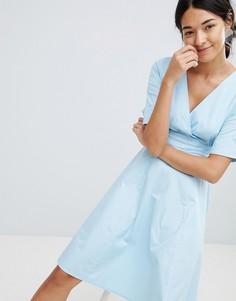 Короткое приталенное платье с V-образным вырезом Uttam Boutique - Синий