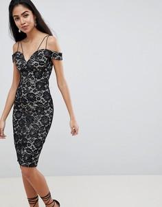Кружевное платье-футляр с открытыми плечами AX Paris - Мульти