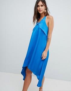 Атласное платье на бретелях Y.A.S - Синий