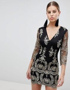 Платье с рукавами 3/4 и вышивкой Girl In Mind - Черный