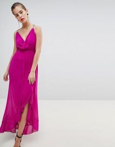 Платье с запахом и цепочками на бретелях Morgan - Розовый