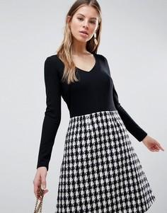 Приталенное платье 2-в-1 с длинными рукавами и клетчатой юбкой Traffic People - Черный