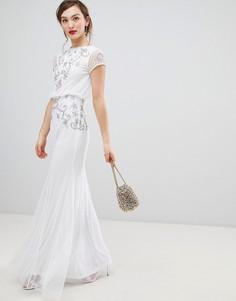 Шифоновое платье макси с короткими рукавами и отделкой Frock & Frill - Белый