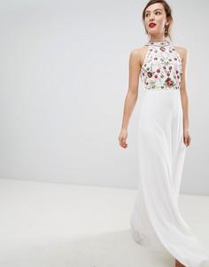 Платье макси с высоким воротом и разноцветной отделкой Frock & Frill - Белый