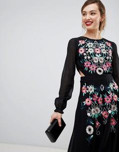 Платье с длинными рукавами и вышивкой Frock & Frill - Черный