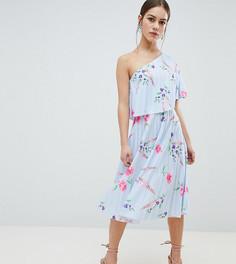 Платье миди на одно плечо с плиссировкой ASOS DESIGN Petite - Мульти